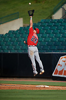 Mississippi Braves first baseman Ryan Casteel (26) jumps for a high throw during a Southern League game against the Jackson Generals on July 23, 2019 at The Ballpark at Jackson in Jackson, Tennessee.  Jackson defeated Mississippi 2-0 in the first game of a doubleheader.  (Mike Janes/Four Seam Images)