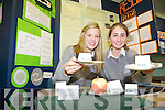 EAT IT OR BIN IT: Clodagh Woods and Laura Kennelly from the Intermediate School, Killorglin with their project Food: 5 seconds on the floor, eat it or bin it?  at the annual SciFest Science and Technology Fair held in the ITT on Tuesday.