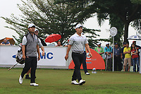 Poor Saksansin and Sunghoon Kang (Asia) on the 5th tee during the Saturday Foursomes of the Eurasia Cup at Glenmarie Golf and Country Club on the 13th January 2018.<br /> Picture:  Thos Caffrey / www.golffile.ie