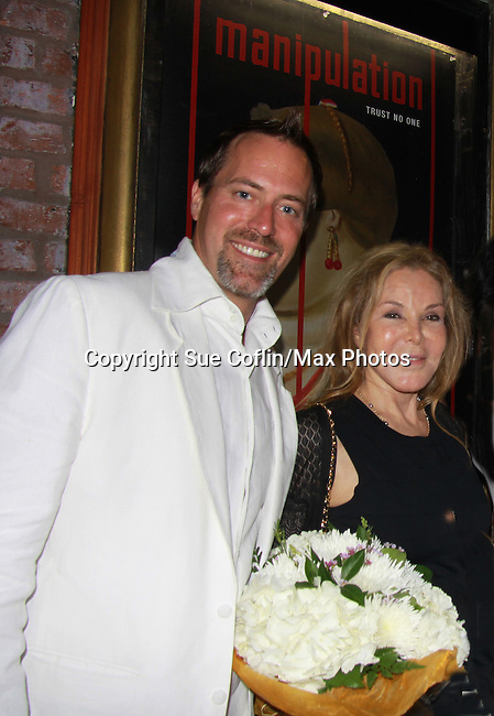 Opening Night of Manipulation - Robert Bogue poses with Victoria E. Calderon after the curtain call of Victoria E. Calderon's play Manipulation on June 28, 2011 at the Cherry Lane Theatre, New York City, New York. (Photo by Sue Coflin/Max Photos)
