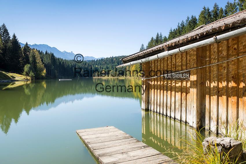 Germany, Bavaria, Upper Bavaria, Werdenfelser Land, Kruen: lido at lake Grubsee | Deutschland, Bayern, Oberbayern, Werdenfelser Land, Kruen: Badeanstalt am Grubsee