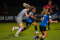Kansas City, MO - Saturday July 22, 2017: Samantha Mewis, Desiree Scott during a regular season National Women's Soccer League (NWSL) match between FC Kansas City and the North Carolina Courage at Children's Mercy Victory Field.