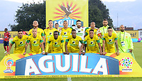 ITAGÜI - COLOMBIA - 19 - 03 - 2018: Los jugadores de Leones, posan para una foto, durante el partido entre Leones F.C. y Deportivo Independiente Medellin, de la fecha 9 por la Liga Águila I 2018, jugado en el Metropolitano Ciudad de Itagüi-Ditaires de la ciudad de Itagüi. / The players of Leones, pose for a photo, during match between Leones F.C. and Deportivo Independiente Medellin, of the 9th date for the Aguila League I 2018, played at Metropolitano Ciudad de Itagüi-Ditaires stadium in Itagüi city. Photo: VizzorImage/ León Monsalve / Cont.