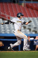 Trenton Thunder shortstop Tyler Wade (14) at bat during the first game of a doubleheader against the Hartford Yard Goats on June 1, 2016 at Sen. Thomas J. Dodd Memorial Stadium in Norwich, Connecticut.  Trenton defeated Hartford 4-2.  (Mike Janes/Four Seam Images)