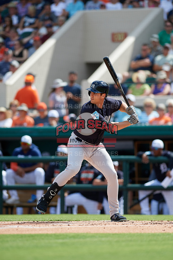 New York Yankees designated hitter Greg Bird (33) at bat during a Grapefruit League Spring Training game against the Detroit Tigers on February 27, 2019 at Publix Field at Joker Marchant Stadium in Lakeland, Florida.  Yankees defeated the Tigers 10-4 as the game was called after the sixth inning due to rain.  (Mike Janes/Four Seam Images)