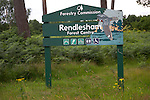 Forestry Commission sign, Rendlesham forest centre, Suffolk farming landscape scenery, East Anglia, England