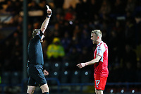 Paddy Madden of Fleetwood Town is booked by referee T Kettle during the Sky Bet League 1 match between Rochdale and Fleetwood Town at Spotland Stadium, Rochdale, England on 20 March 2018. Photo by Thomas Gadd.