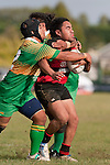 John Tamalii gets taken high as he is tackled by Tukimom Taulanga & Nau Tapui. Counties Manukau Premier Club Rugby Game of the Week between Drury & Papakura, played at Drury Domain on Saturday Aprill 11th, 2009..Drury won 35 - 3 after leading 15 - 5 at halftime.
