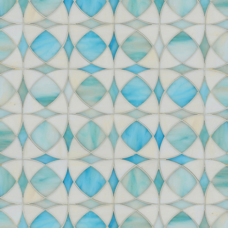 Zazen, jewel glass mosaic shown in Aquamarine and Quartz, is part of the Miraflores collection by Paul Schatz for New Ravenna.