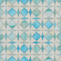 Zazen, jewel glass mosaic shown in Aquamarine and Quartz, is part of the Miraflores Collection by Paul Schatz for New Ravenna Mosaics.