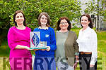Kelly O'Hallorane receiving the Ceist award from Principal at th  St Brigid's Killarney Presentation annual awards ceremony on Friday l-r: Kelly O'Halloran, Mary O'Halloran and Mairead McElligott deputy Principal