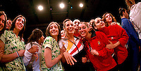 (Center) Almudena Cid and team Spain celebrate during march out after closing ceremony gala at 2007 Portimao World Cup of Rhythmic Gymnastics on April 29, 2006.  (Photo by Tom Theobald)..