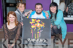 "BABY TAG: Young Artist Daire Freeman shows off one of his  self lighting project which were on display at the opening of the new ""Baby Tag"" Studio in Barrack Lane Tralee on Saturday evening with Daire were fellow artists, L-r: Katie O'Reilly, Rebekah Wall, Daire Freeman and Charlott Lee............"