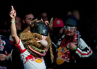 A New York Red Bulls fan cheers on his team during the MLS SuperDraft at the Pennsylvania Convention Center in Philadelphia, PA, on January 16, 2014.