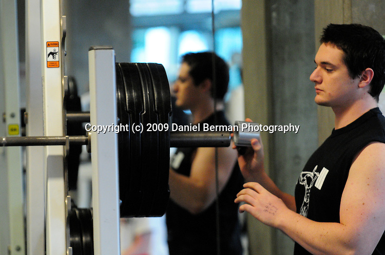 Nate Donohue competes in the WWU Strongman Competition Saturday November 21, 2009. The competition featured squat, bench press, and deadlifts. Photo by Daniel Berman/www.bermanphotos.com