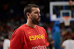 Marc Gasol of Spain warms up before the Friendly match between Spain and Dominican Republic at WiZink Center in Madrid, Spain. August 22, 2019. (ALTERPHOTOS/A. Perez Meca)