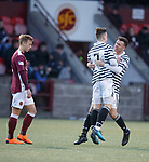 01.05.18 Stenhousemuir v Queens Park: Robbie Leitch (7) scores for Queen's Park and celebrates