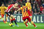 BILBAO.ESPAÑA.FÚTBOL.<br /> Partido de La Liga BBVA entre el Ath.Club y el Barça , a 01/12/2013.<br /> En la imagen :<br /> 2Gaizka Toquero (Athletic Bilbao)<br /> 14Javier Mascherano (FC Barcelona)