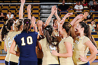 27 September 2008:  FIU's team gathers on the court prior to the FIU 3-0 (25-13, 25-23, 25-18) victory in straight sets over Troy at Golden Panther Arena in Miami, Florida.