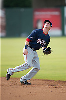 Hagerstown Suns second baseman Conor Keniry (11) on defense against the Kannapolis Intimidators at CMC-Northeast Stadium on July 19, 2015 in Kannapolis, North Carolina.  The Suns defeated the Intimidators 9-4.  (Brian Westerholt/Four Seam Images)