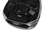 Car stock 2018 Audi A7 Sportback S Line 5 Door Hatchback engine high angle detail view