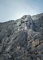 Austria, Styria, village Johnsbach at Johnsbach Valley: Jesus' countenance seems to look down from Gesaeuse mountains (Ennstal Alps) | Oesterreich, Steiermark, Johnsbach: von hier scheint vom Gesaeuse (Ennstaler Alpen) aus das Antlitz Jesus herunter zu blicken