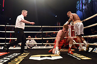 Grant Dennis (white shorts) defeats Sean Phillips during Ultimate Boxxer III at Indigo at the O2 London on 10th May 2019