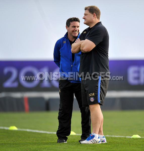 Bath Rugby Head Coach Mike Ford is all smiles during the pre-match warm-up. European Rugby Champions Cup match, between RC Toulon and Bath Rugby on January 10, 2016 at the Stade Mayol in Toulon, France. Photo by: Patrick Khachfe / Onside Images