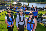 Eoin O'Flynn Marketing Manager Flogas Ireland (Front Middle) with Glenda Carter and Olwyn Cudden and some of the crew of the Inver Colpa rowing club, getting ready for exercise on the river in the sunshine.<br /> Picture Fran Caccfrey/Newsfile