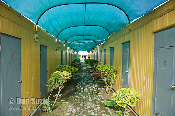 Rooms at the Timor Lodge Hotel are in converted shipping containers. Dili, Timor-Leste (East Timor)
