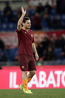 Calcio, Serie A: Roma, stadio Olimpico, 19 febbraio 2017.<br /> Roma&rsquo;s Francesco Totti greets his supporters during the Italian Serie A football match between As Roma and Torino at Rome's Olympic stadium, on February 19, 2017.<br /> UPDATE IMAGES PRESS/Isabella Bonotto