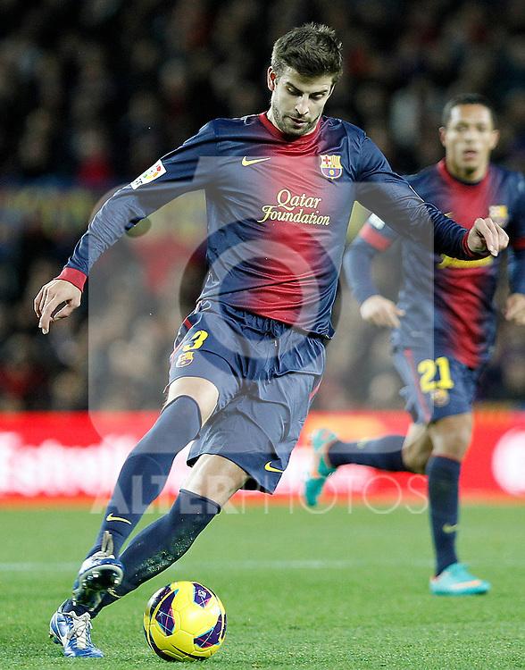 FC Barcelona's Gerard Pique during La Liga match.December 16,2012. (ALTERPHOTOS/Acero)