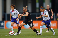 14 MAY 2011: USA Women's National Team forward Amy Rodriguez (8) dribbles the ball during the International Friendly soccer match between Japan WNT vs USA WNT at Crew Stadium in Columbus, Ohio.