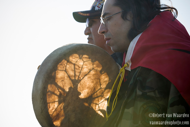 Eric Coté takes part in the opening prayer at a rally to Defend our Climate in Oka, Quebec, Canada. The rally was held in Oka on traditional Mohawk territory and coincided with over 130 events across Canada as part of a National day to Defend our Climate.
