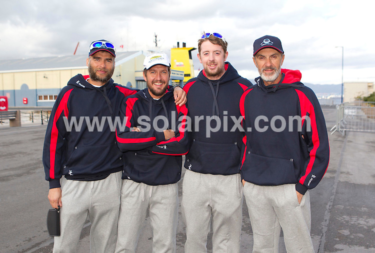 **PICTURES FROM SOLARPIX.COM**                                 **WORLDWIDE SYNDICATION RIGHTS**     .**PICS TO GO WITH WORDS BY GERARD COUZENS-TAG MEDIA**              .Atlantic Odyssey Challenge Team arrive back on shore at the Port of Gibraltar and  this morning after being rescued when their rowing boat capsized during their record attempt to row from Morocco to Barbados in under 30 days. .The six men were picked up 27 days into their journey, from a life raft by a Panamanian-flagged cargo ship..The crew were:.Ian Rowe, 45, from Bedford; Aodhan Kelly, 26, from Dublin; Simon Brown, 37, from Wiltshire, Yaacov Mutnikas, Mark Beaumont, 29, from Perthshire in Scotland, and skipper Matt Craughwell.                                                                                This pic:   L-R: L-R: Ian Rowe, Simon Brown, Aodhan Kelly & Yaacov MutnikasKelly,Matt Craughwell and Yaacov Mutnikas quayside at Gibraltar                                                                                        .JOB REF:    14459    AB1       DATE:  09.02.12                                                           **MUST CREDIT SOLARPIX.COM OR DOUBLE FEE WILL BE CHARGED**                                                                        **MUST NOTIFY SOLARPIX OF ONLINE USAGE**                 **CALL US ON: +34 952 811 768 or LOW RATE FROM UK 0844 617 7637**