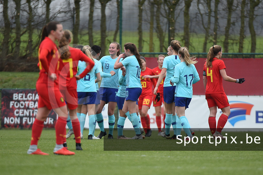 20190206 - TUBIZE , BELGIUM : Dutch players celebrating their opening goal pictured during the friendly female soccer match between Women under 17 teams of  Belgium and The Netherlands , in Tubize , Belgium . Wednesday 6th February 2019 . PHOTO SPORTPIX.BE DIRK VUYLSTEKE