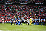 A minute silence is held for the victims of the Grenfell Tower fire before the The FA Community Shield match at Wembley Stadium, London. Picture date 6th August 2017. Picture credit should read: Charlie Forgham-Bailey/Sportimage