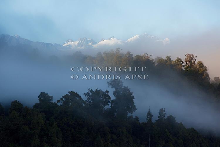 Mount Tasman and the Southern Alps through fog. Westland Region. New Zealand.
