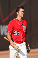 Inland Empire 66'ers right fielder Randal Grichuk #45 before a game against the Stockton Ports at Arrowhead Credit Union Park on September 4, 2011 in San Bernardino,California. Stockton defeated Inland Empire 3-0.(Larry Goren/Four Seam Images)
