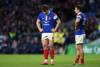 France players look dejected during a break in play. Guinness Six Nations match between England and France on February 10, 2019 at Twickenham Stadium in London, England. Photo by: Patrick Khachfe / Onside Images