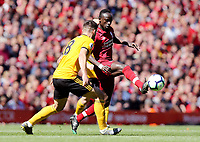 Liverpool's Sadio Mane vies for possession with Wolverhampton Wanderers' Ruben Neves<br /> <br /> Photographer Rich Linley/CameraSport<br /> <br /> The Premier League - Liverpool v Wolverhampton Wanderers - Sunday 12th May 2019 - Anfield - Liverpool<br /> <br /> World Copyright © 2019 CameraSport. All rights reserved. 43 Linden Ave. Countesthorpe. Leicester. England. LE8 5PG - Tel: +44 (0) 116 277 4147 - admin@camerasport.com - www.camerasport.com