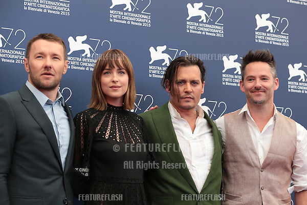 Dakota Johnson, Johnny Depp, Scott Cooper at the photocall for Black Mass at the 2015 Venice Film Festival.<br /> September 4, 2015  Venice, Italy<br /> Picture: Kristina Afanasyeva / Featureflash