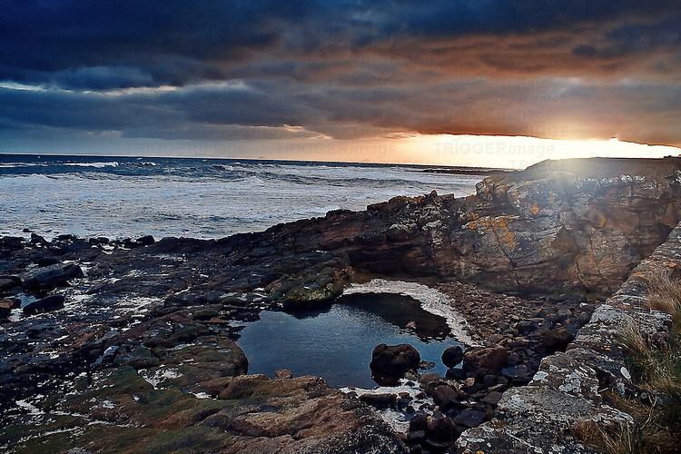 Sunset at Crail Harbor.