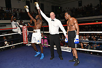 John Harding (white shorts) defeats Victor Edagha during a Boxing Show at York Hall on 14th April 2018