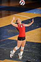 20 November 2008:  Arkansas State defensive specialist Heather Bowman (8) serves during the Middle Tennessee 3-0 victory over Arkansas State in the first round of the Sun Belt Conference Championship tournament at FIU Stadium in Miami, Florida.