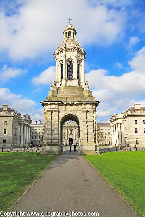 The Campanile bell tower, Trinity College university, city of Dublin, Ireland, Irish Republic