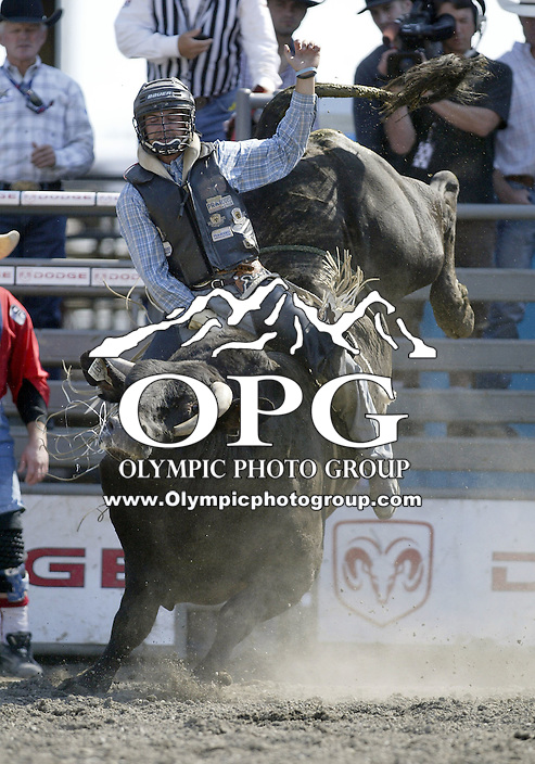 30 Aug 2009:  Joe Meling riding the bull Shabang was not able to score on his second round ride during the Extreme Bulls tour stop in Bremerton, Washington.  Bremerton was the last stop in the Wrangler Million Dollar Pro Rodeo Silver Tour for 2009.