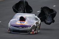 Jul. 19, 2014; Morrison, CO, USA; NHRA pro stock driver Vincent Nobile during qualifying for the Mile High Nationals at Bandimere Speedway. Mandatory Credit: Mark J. Rebilas-
