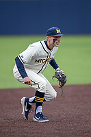 Michigan Wolverines third baseman Blake Nelson (10) on defense against the Indiana State Sycamores on April 10, 2019 in the NCAA baseball game at Ray Fisher Stadium in Ann Arbor, Michigan. Michigan defeated Indiana State 6-4. (Andrew Woolley/Four Seam Images)