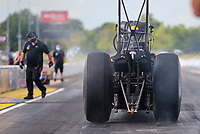 Jul 10, 2020; Clermont, Indiana, USA; NHRA top fuel driver Leah Pruett does a burnout during testing for the Lucas Oil Nationals at Lucas Oil Raceway. This will be the first race back for NHRA since the COVID-19 pandemic. Mandatory Credit: Mark J. Rebilas-USA TODAY Sports